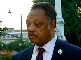 The Rev. Jesse Jackson reacts to lawmakers' historic move outside the Statehouse on Thursday morning.