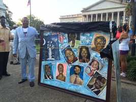 Ernest Lee is a well-known artist in Columbia. He is donating this picture of the Emmanuel 9 to the church.