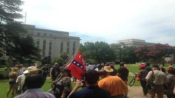 Gathering at African American monument