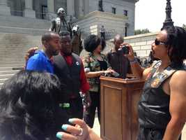 Black Educators for Justice on north steps of Statehouse