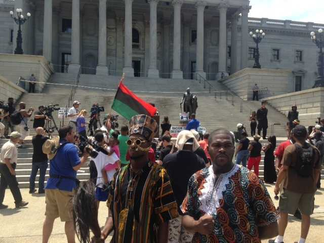 Rally begins for Black Educators for Justice on the north steps of the Statehouse.