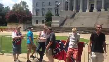 More people arrive on south grounds for the KKK rally