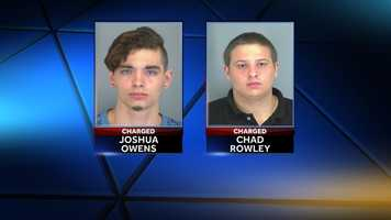 Joshua Owens and Chad Rowley: charged with threatening the life of a person, family of a public official, teacher, principal and conspiracy to commit kidnapping.