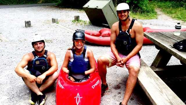 Aimee in June after river running with instructors Joe Gudger and Chris Townsend.