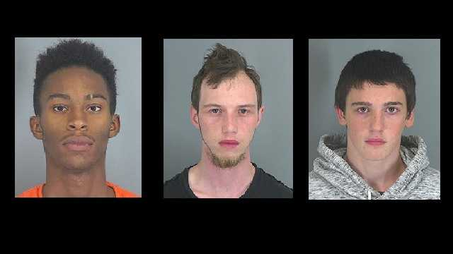 Rickey Archie Giles, 17, of Woodruff, Brad Lee Harris, 22, of Roebuck, and Michael Eugene Reddy, 17, of Enoree are charged with attempted armed robbery and possession of a weapon during the commission of a violent crime. (Pictured left to right in order)