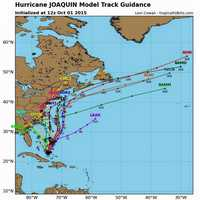 Map showing all the possible tracks of Hurricane Joaquin