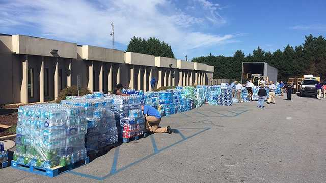 Water collection at the Spartanburg County Sheriff's Office on Tuesday morning