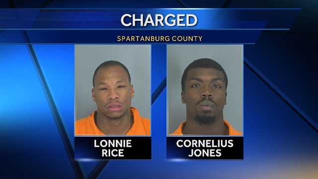 Lonnie Rice and Cornelius Jones: face charges of armed robbery and possession of a weapon during the commission of a violent crime in connections with an armed robbery at the Quick Way Food Mart, at 1228 Boiling Springs Road, in Spartanburg County.