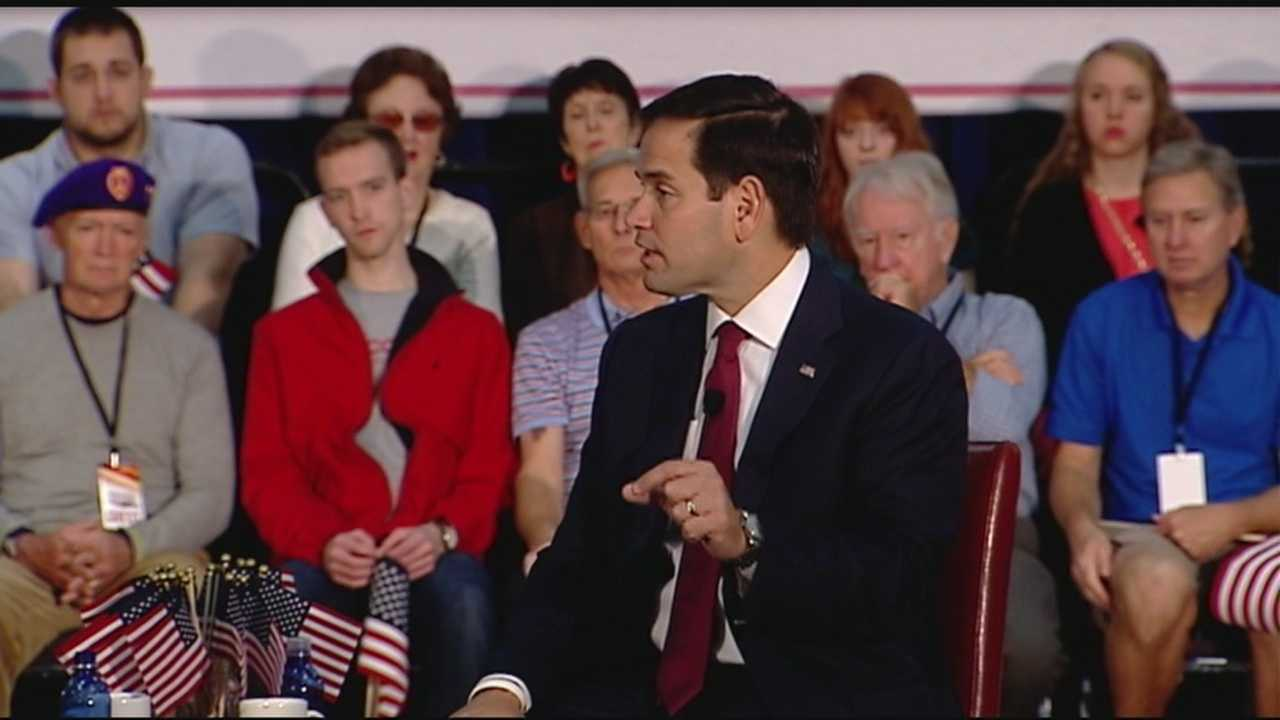 GOP presidential candidate Marco Rubio takes part in town hall with veterans.
