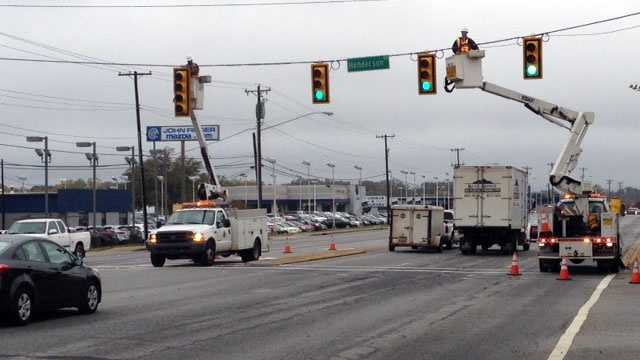 Crews installed the new FYL at the intersection of Laurens Road and Henderson Road in Greenville.