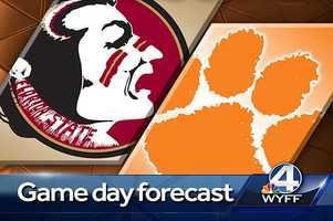 Pack your poncho for the Clemson game!  WYFF News 4 Meteorologist Chris Justus says to expect scattered showers through the day on Saturday. KEEP CLICKING FOR SPECIFICS. Justus says a cold front will be approaching the area slowly on Saturday and out ahead of that front will be scattered showers, possibly even a rumble of thunder. The front is expected to pass through the area late Saturday evening bringing an end to the showers.
