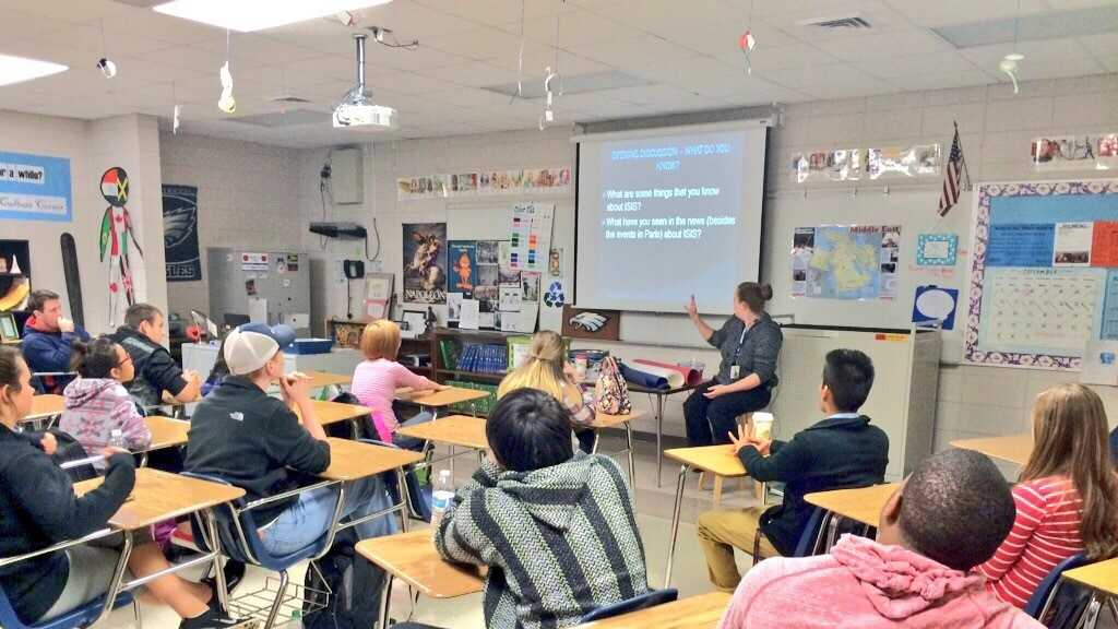 Students at Dorman High learn about the terror attacks in Paris.