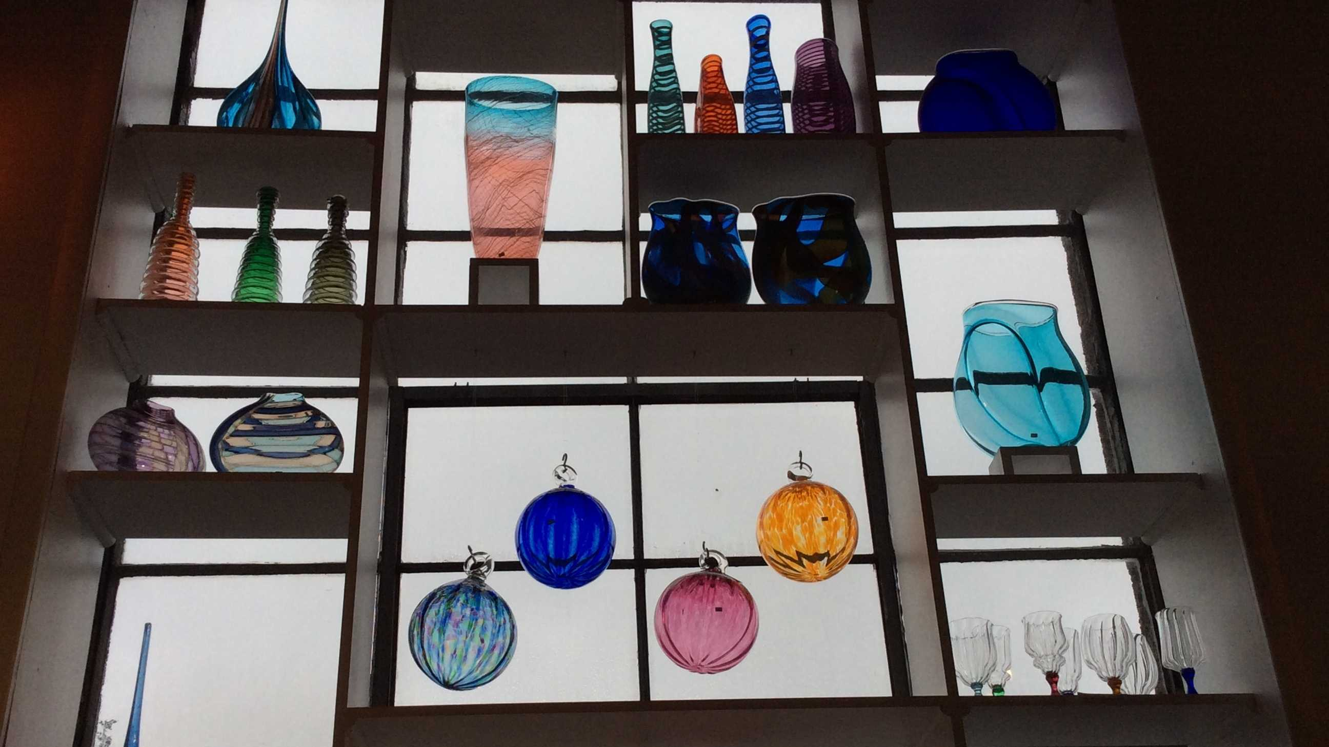 Hand-blown glass brightens up a gray day outside of Lexington Glassworks in Asheville.