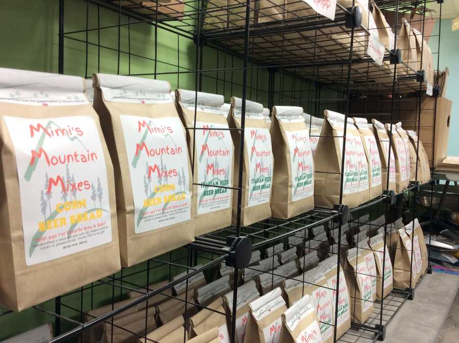 Shelves of Mimi's Mountain Mixes are bagged and ready to be distributed to over 75 Ingles locations in North and South Carolina