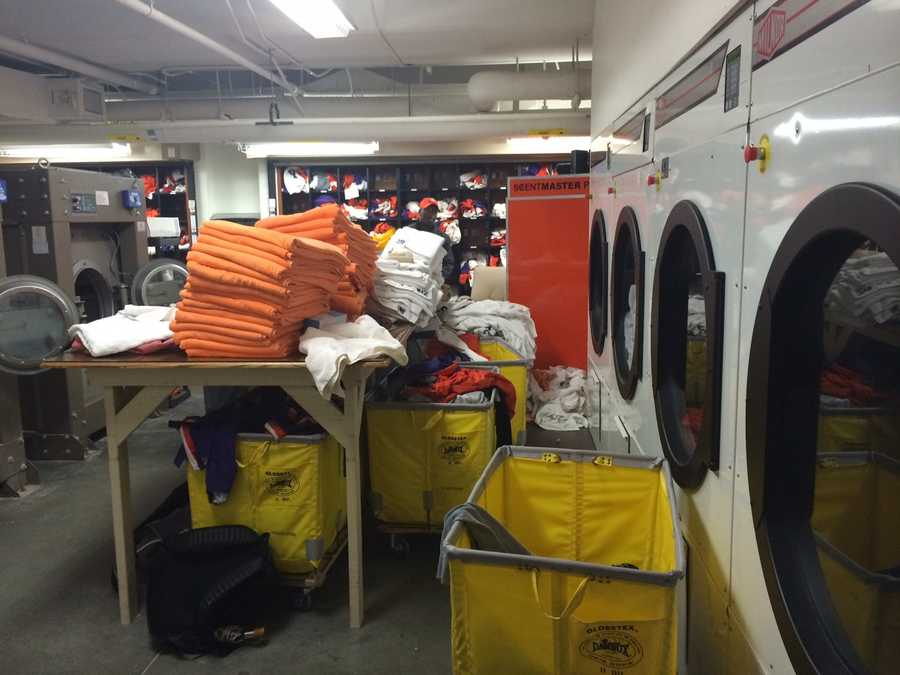 Clemson's Laundry room. They use about 26 gallons of detergent a month and do 12 loads of laundry a day.