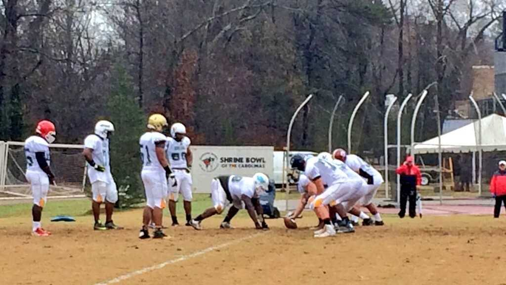 Players from the Carolinas are in Spartanburg practicing for the 2015 Shrine Bowl.