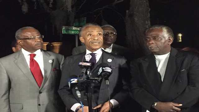 The Rev. Al Sharpton spoke outside The Citadel after a meeting with its president Wednesday.