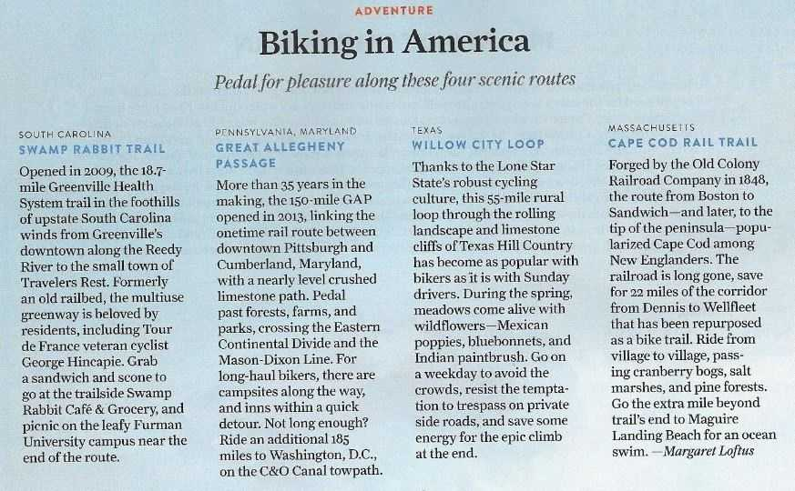 """National Geographic Traveler - Biking in America&#x3B; August/September 2015: """"Pedal for pleasure along these four scenic routes"""" (Full Article)"""