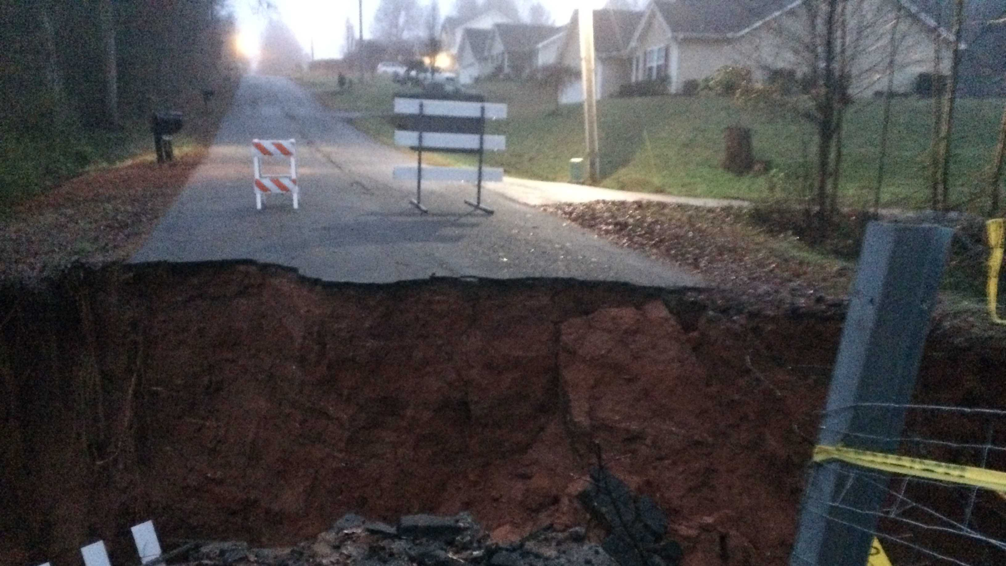 Guyton Road partially collapsed on Christmas morning, according to neighbors.
