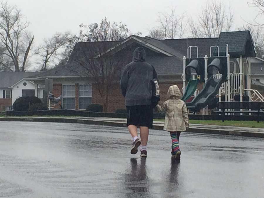Walking in the rain in Williamston