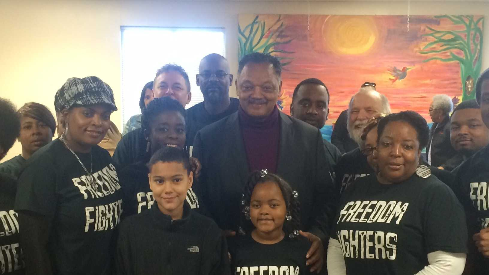 Rev. Jesse Jackson holds press conference with local groups to push voter registration.