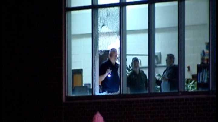 Riverside High School broken window