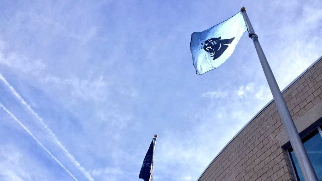 Panthers flags fly outside the Spartanburg Chamber of Commerce to celebrate the team's trip to the Super Bowl.