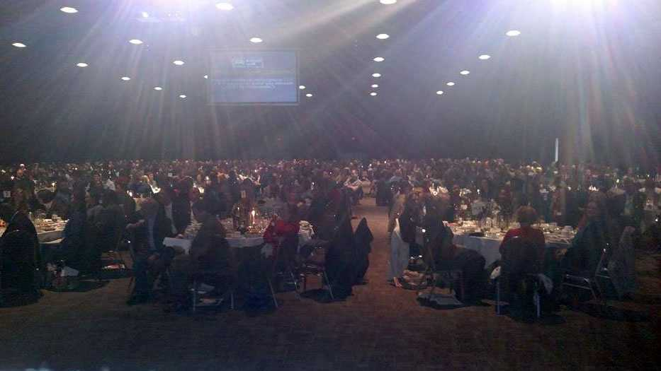 A view from the podium during the United Way luncheon on Thursday, as seem by WYFF News 4's Michael Cogdill and Carol Goldsmith, who help present awards.