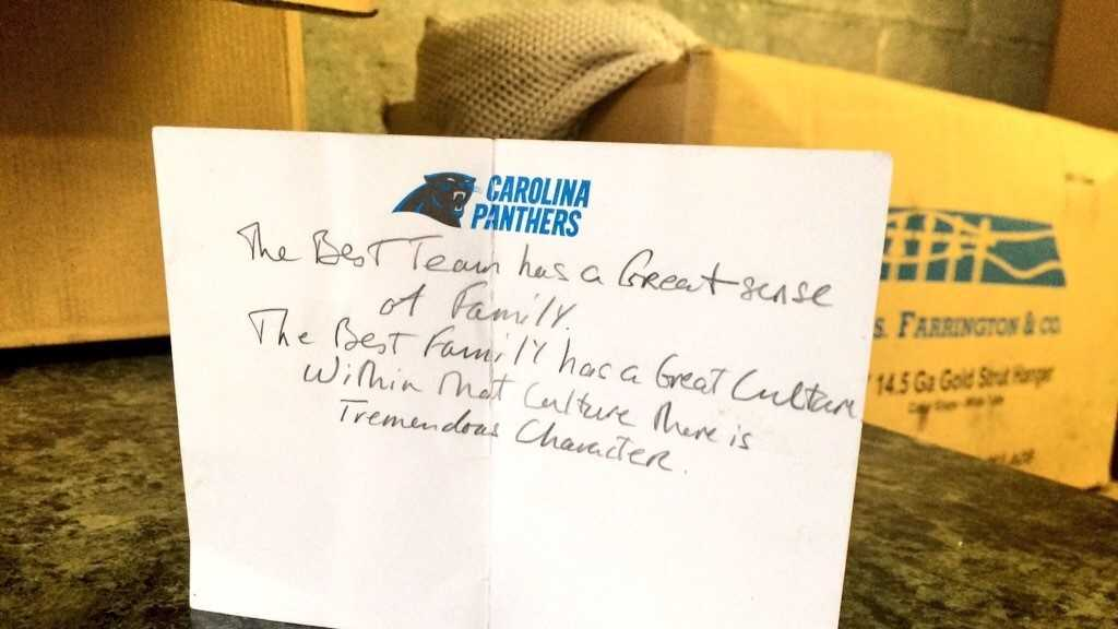 A Spartanburg dry cleaner said he found this handwritten note in the pocket of a jacket belong to Carolina Panthers coach Ron Rivera.