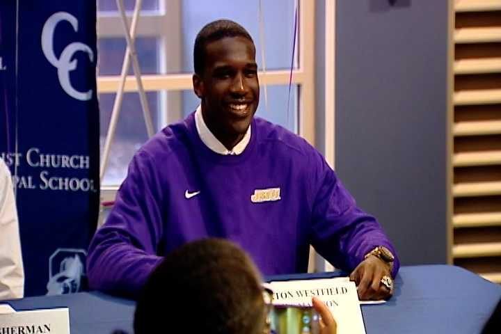 Braxton Westfield at Christ Church signed with James Madison University to play football