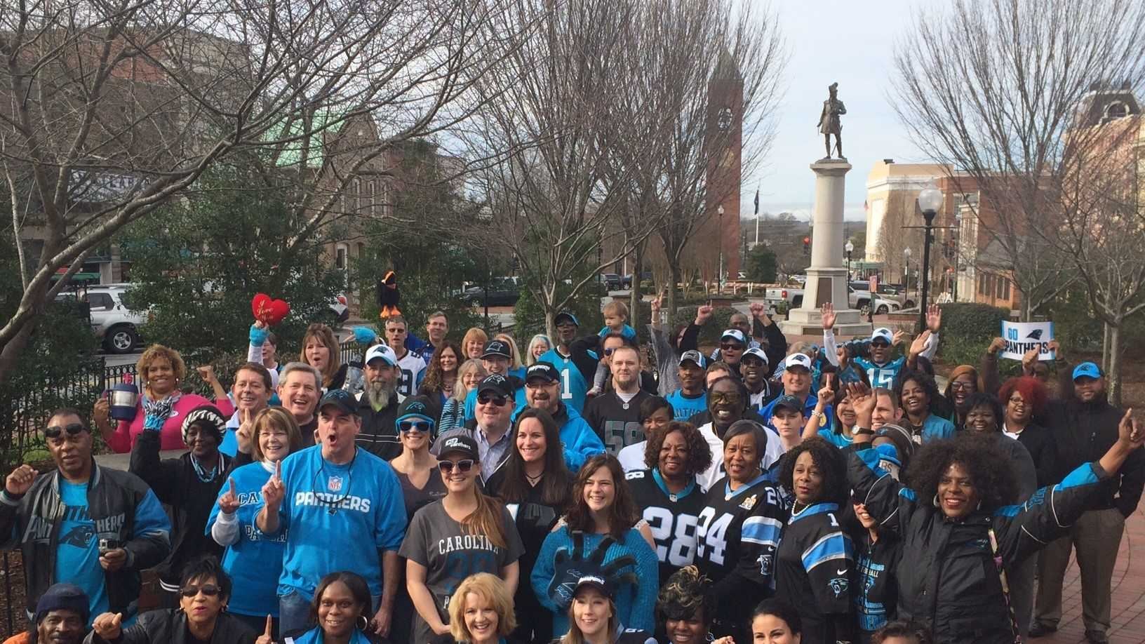 Panthers fans gathered in Downtown Spartanburg to take a group photo.