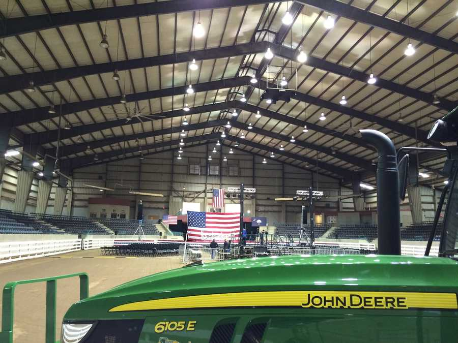 They displayed the flag and set up the room at T. Ed Garrison Arena hours before the candidate arrived.