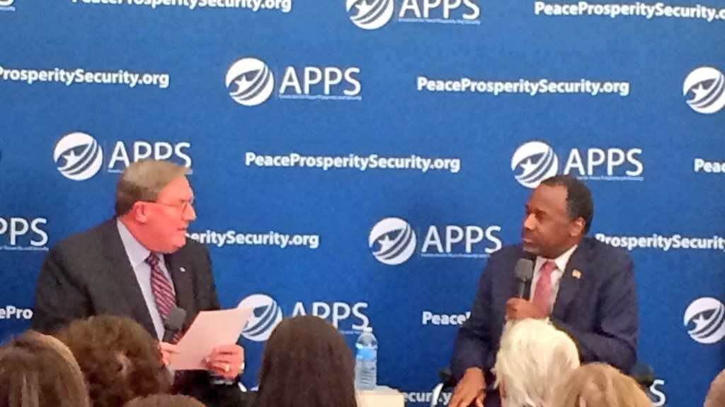 Ben Carson appeared at the Gaffney Visitor's Center to answer questions about national security.
