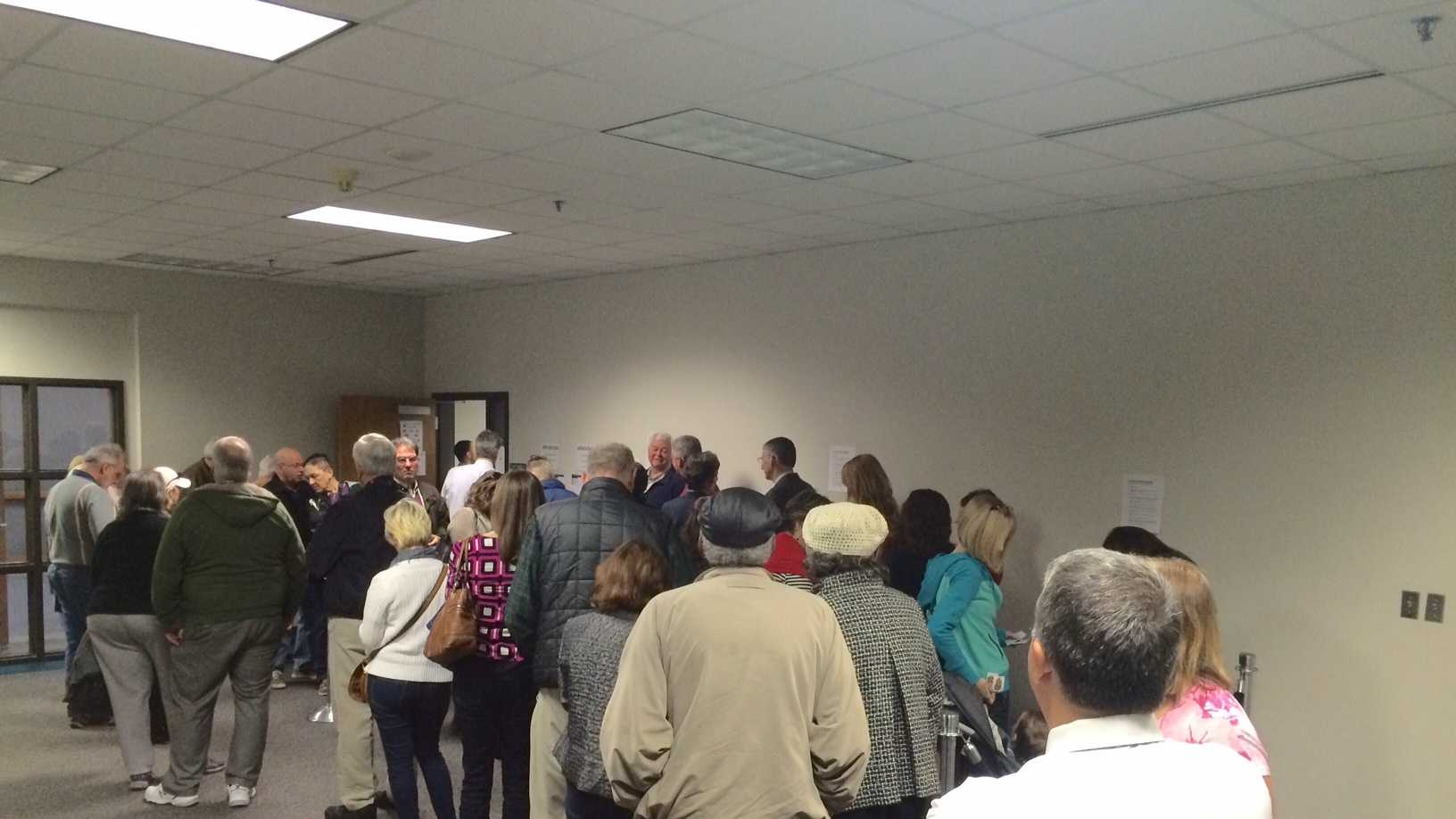 Long lines in Greenville County to cast an absentee vote.