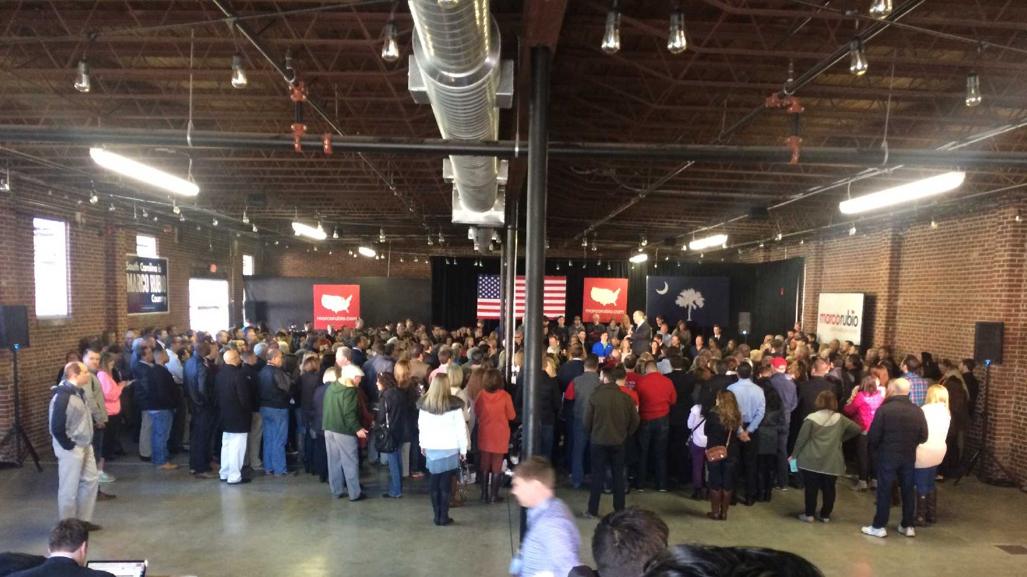 Marco Rubio speaking at Swamp Rabbit Crossfit in Greenville on Thursday.