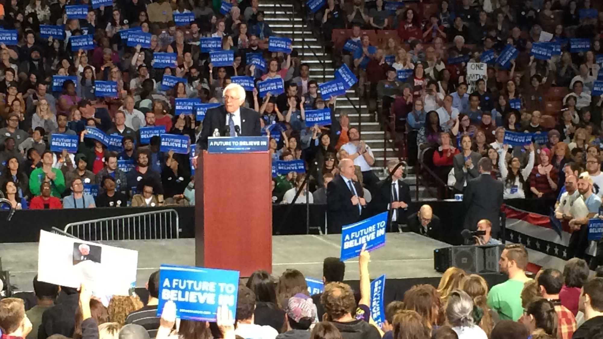 Bernie Sanders address thousands of supporters in Greenville