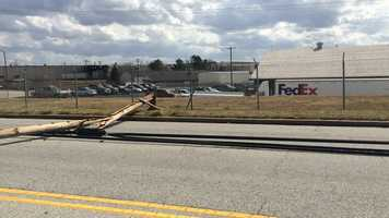 Winds blew down several power poles on Southport Road in Spartanburg near Cedar Springs Ave.