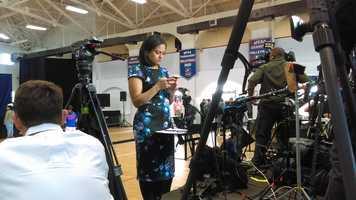NBC News political correspondent Kristen Welker prepares for her next live hit.