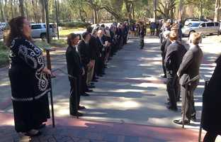 Shannon Faulkner, the first female cadet admitted to the Citadel, waits for the funeral procession into St. Peter's Catholic Church in Beaufort.