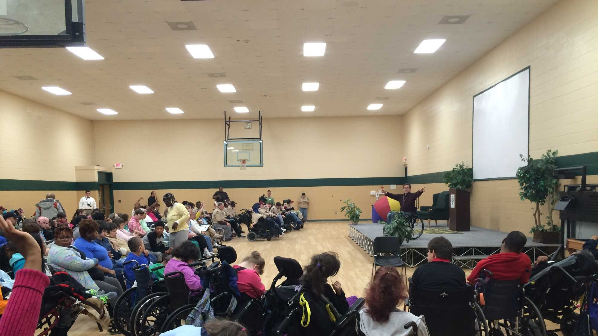 Paralympian Mike Schlappi visits the Charles Lea Center in Spartanburg.