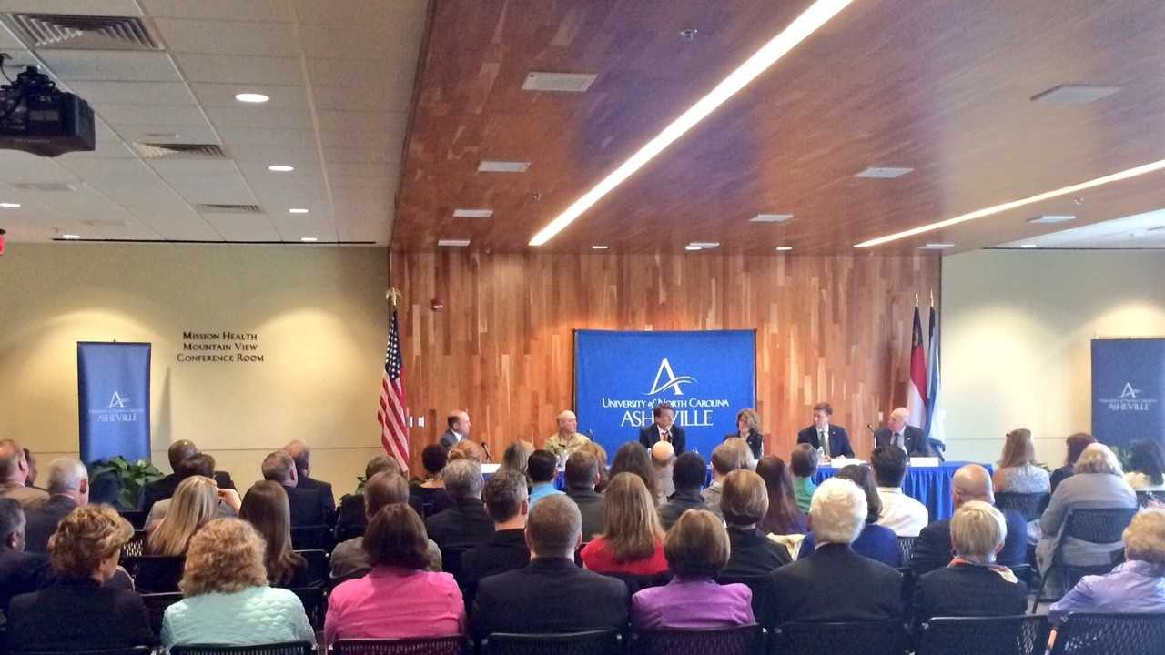 NC Gov. Pat McCrory spoke at UNC Asheville about the state's $2 billion bond issue.