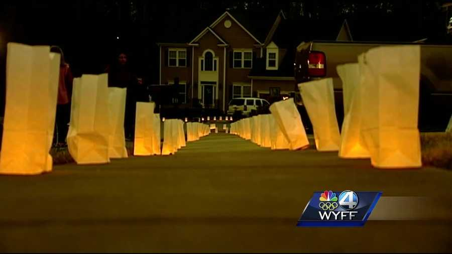 A tribute for Jacobs was held Sunday night. More than 1,500 luminaries were placed up and down sidewalks, along driveways and on porches in Jacobs' neighborhood.