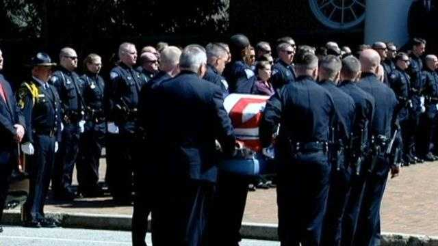 Officer Jacobs' casket arrived at the chapel around 1 p.m. Wednesday ahead of the visitation.