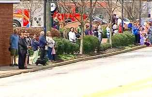 People gathered in Downtown Travelers Rest to honor Officer Jacobs
