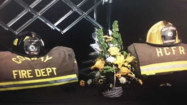 Conway Firefighter Chris Ray's gear on display at his funeral