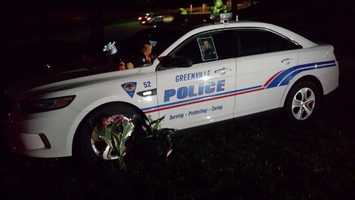 The patrol car was parked near Stone Avenue at about midnight on March 18, the day Jacobs was killed.