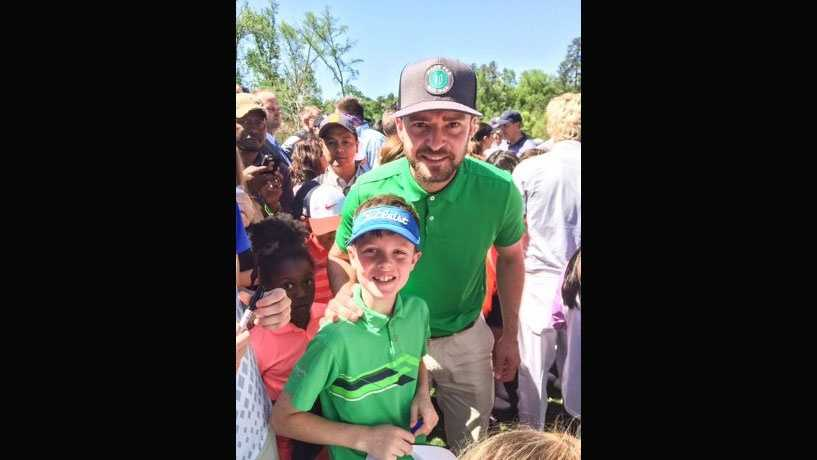 Hugh Faulkner, 8, met Justin Timberlak last weekend during the Drive, Chip and Putt Tournament at Augusta National.