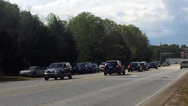 A major law enforcement presence in Simpsonville on Main Street/Highway 14 near Royal Chemical.