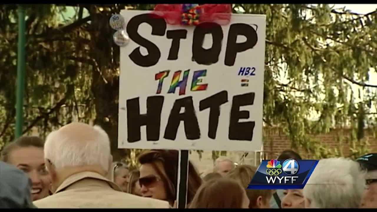 Group held rally against 'bathroom law' in downtown Hendersonville