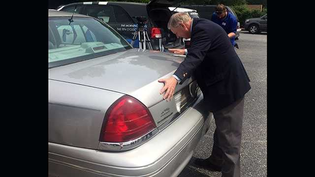 Sen. Lindsey Graham says goodbye to his car of 13 years before donating it to Miracle Hill.